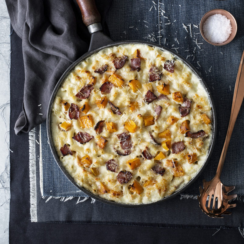 Mac and Cheese with butternut and crispy pancetta