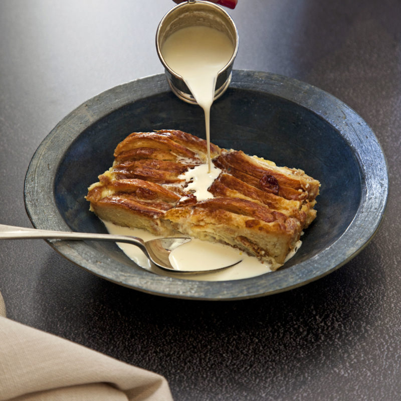 White Chocolate Croissant Bread and Butter Pudding